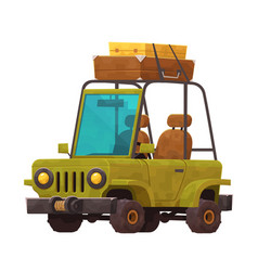 little cartoon car with suitcases for travel vector image