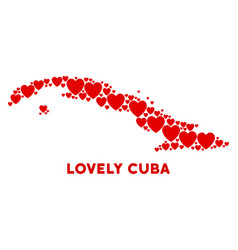 love cuba map collage of hearts vector image