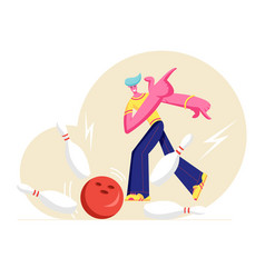 male character throw ball hitting strike bowling vector image