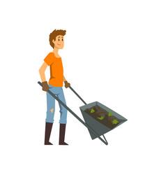 male farmer with wheelbarrow of earth gardener at vector image