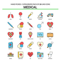 medical flat line icon set - business concept vector image