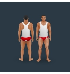 men in briefs and singlet vector image