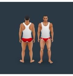 men in briefs and singlet vector image