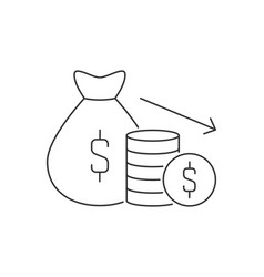 money bag and stack pile coins line icon vector image