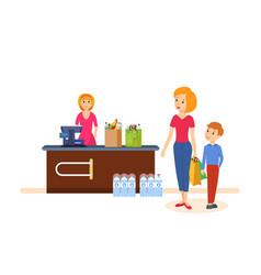 Mother with her kid spend weekdays vector