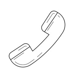 Old phone handset line icon vector