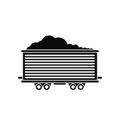 Open rail car black simple icon vector