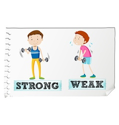 Opposite adjectives with strong and weak vector image