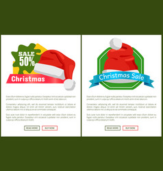 pair of half price christmas sale promo cards vector image
