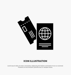 passport business tickets travel vacation solid vector image