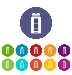 Phone booth set icons vector image