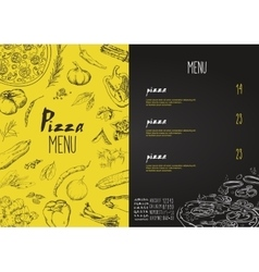 Pizza menu the names of dishes of Pizza vector