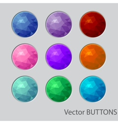 Polygonal round buttons design elements vector