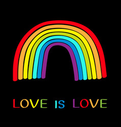 Rainbow on black background colorful line set vector