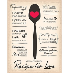 recipe card wedding invitation cooking concept vector image