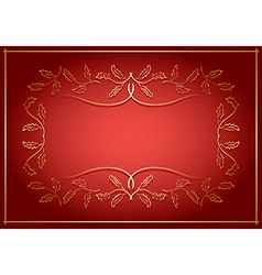 Red and gold background with frame in center vector