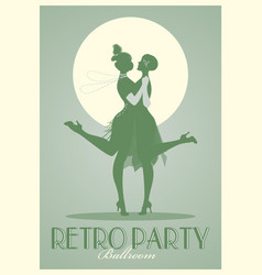 Retro party poster silhouettes flappers vector
