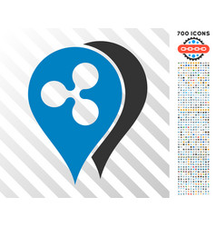 Ripple map markers flat icon with bonus vector