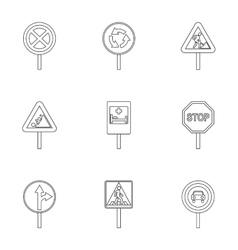 Road sign icons set outline style vector image
