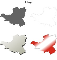 Schwyz blank detailed outline map set vector image