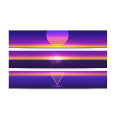 sci fi abstract long horizontal banners with the vector image