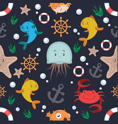 sea animals and objects seamless pattern vector image