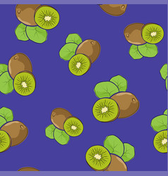 Seamless pattern kiwifruit on purple background vector