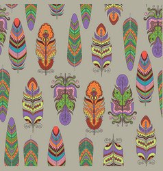 Seamless pattern with feather vector