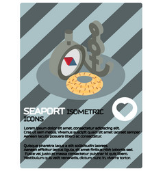 Seaport color isometric poster vector