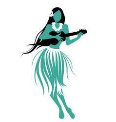 Silhouette of hawaiian girl wearing skirt vector