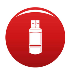 small flash drive icon red vector image