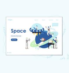 Space website landing page design template vector