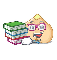 Student with book chickpeas mascot cartoon style vector