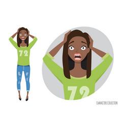 Surprised shocked black african american woman in vector
