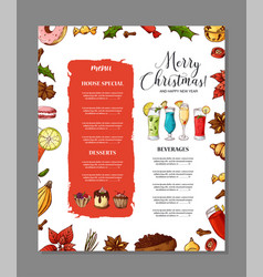 template for restaurant brochure christmas vector image