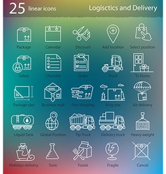 Transportation logistics and delivery linear style vector image