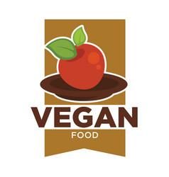 vegan food logo for vegetarian cafe or menu design vector image