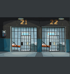 View on prison cells through metal bars vector