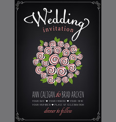 wedding invitation card bridal bouquet vector image