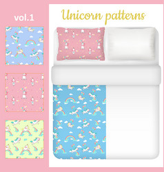 White blank and unicorn bed linen set vector