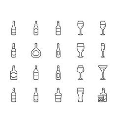wine bottles line icons set of craft beer vector image