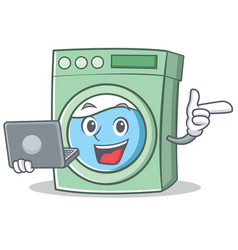 With laptop washing machine character cartoon vector