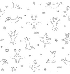 Yoga dogs poses and exercises bull terrier vector