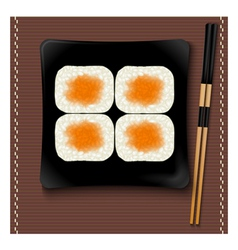 Black square plate with sushi and chopsticks vector image