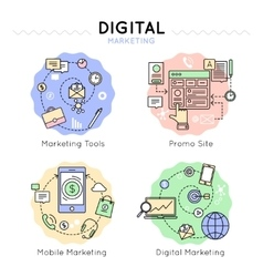 Digital Marketing Colored Icon Set vector image