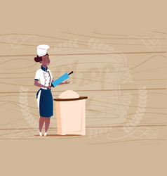 Female african american chef cook working with vector