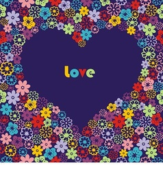 floral colorful heart vector image