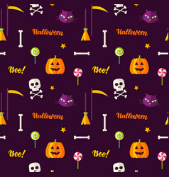 halloween print seamless pattern vector image