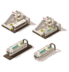 isometric low poly subway station cutaway vector image