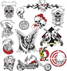 Skull tattoo set vector
